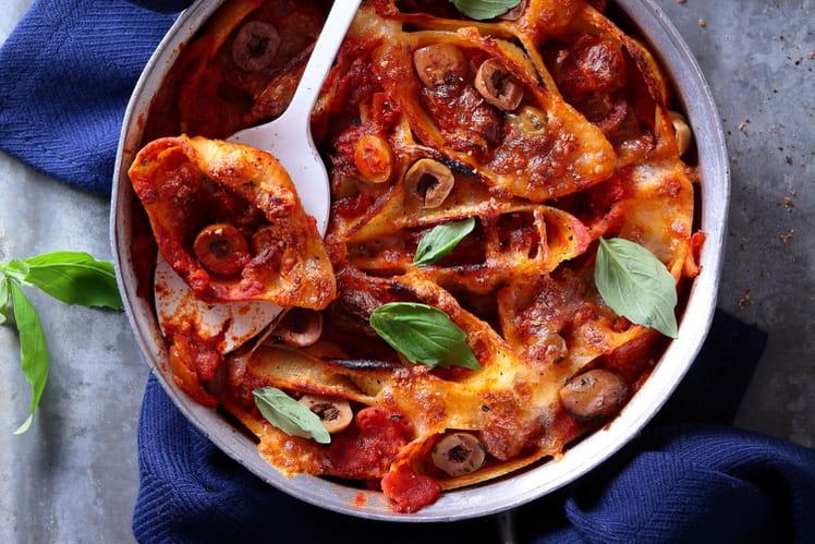 Gratin de Conchiglioni à la sauce tomate aux olives à la Provençale Tramier