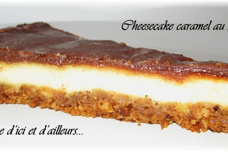 Cheesecake au chocolat au lait, sablés bretons et caramel au beurre salé