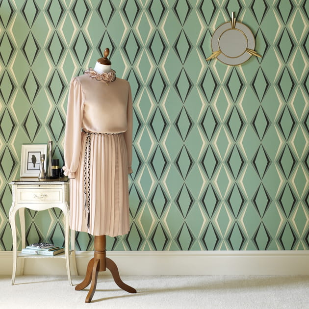 Papier peint Deco Diamond Green de Graham & Brown