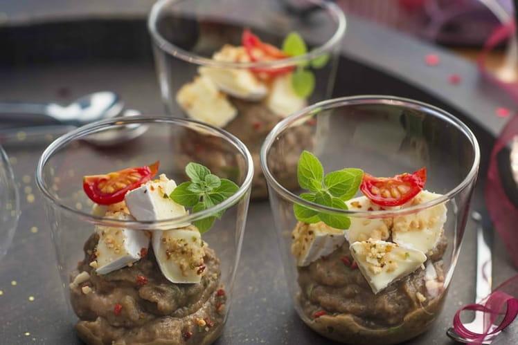 Verrines de caviar d'aubergines et mini Caprice