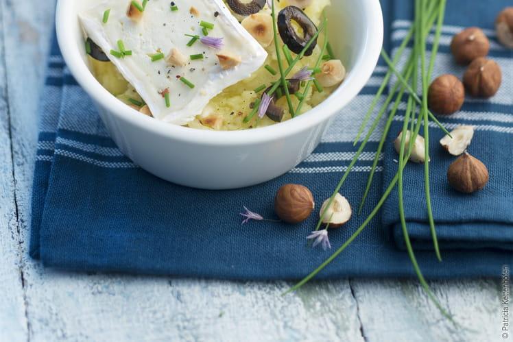 Écrasé de pommes de terre, olives, noisettes et Caprice des Dieux