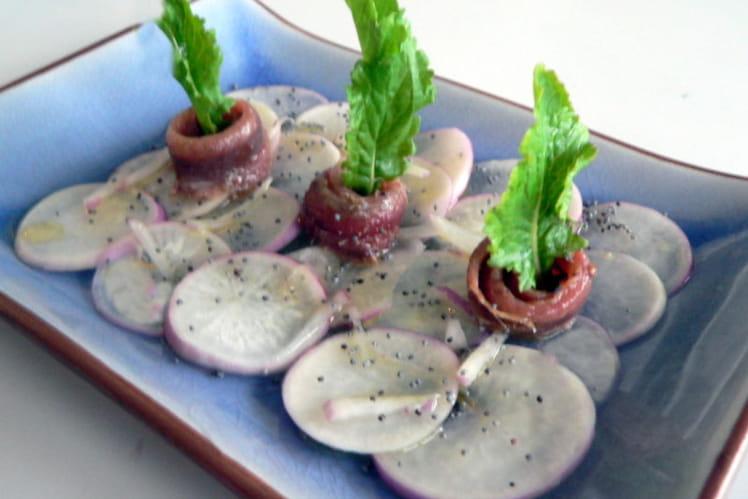 Salade de navets nouveaux aux anchois