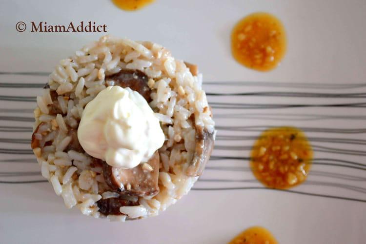Riz de Camargue champignons et pesto truffe noire