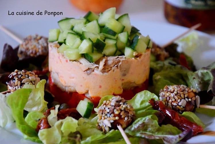 Terrine de poivrons et poulet ricotta au pesto rosso