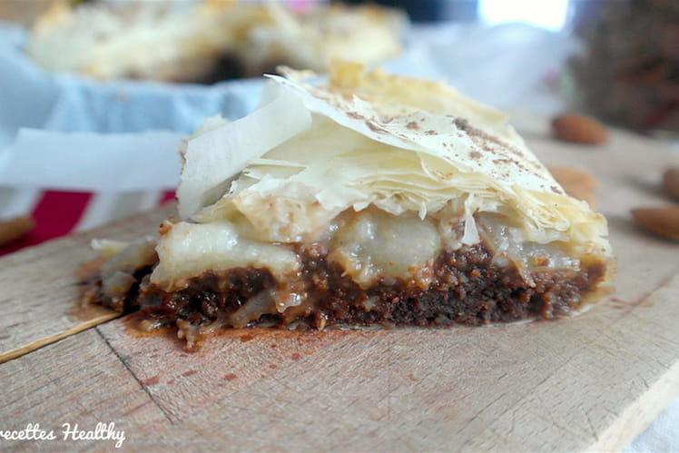 Galette des Rois à la pâte filo, aux poires, amandes et chocolat, sans beurre