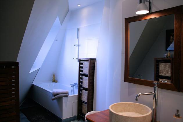 Une salle de bains moderne et exotique