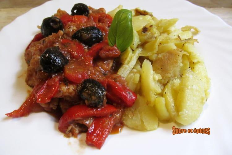 Ragoût de poulet aux poivrons et olives