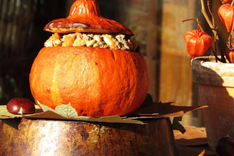 Potimarron farci aux lardons, champignons et au boeuf