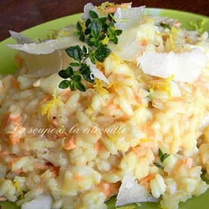 risotto citronné au saumon et au crabe