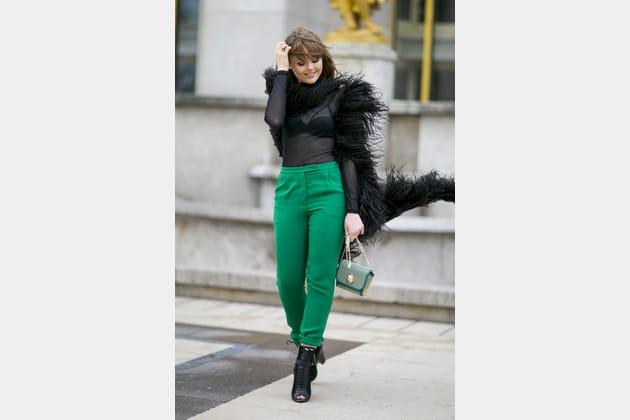 Street style à Paris : le choking vert