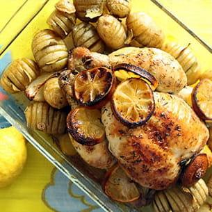 poulet rôti aux citrons et au thym