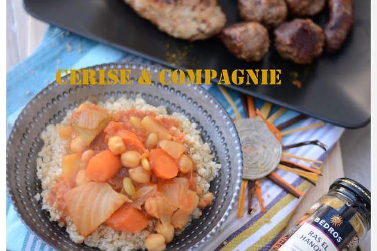 Couscous poulet, merguez, agneau et boulettes de boeuf