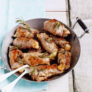 saltimbocca de veau, mozzarella fumée et romarin
