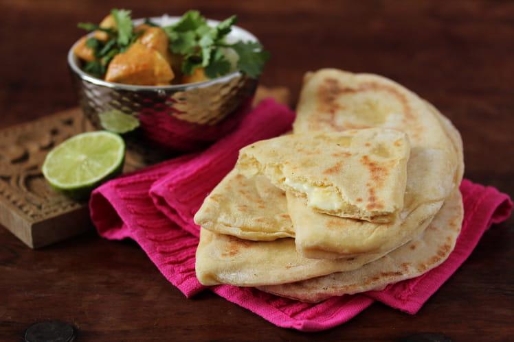 Cheese naan La Vache qui rit et curry de poulet