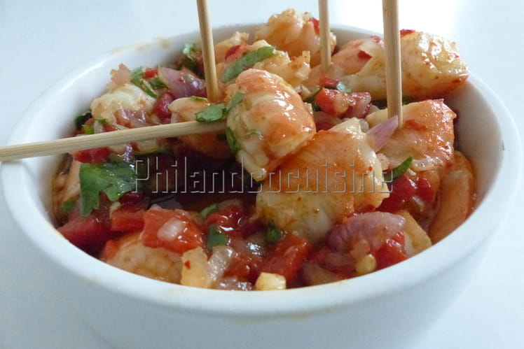 Crevettes marinées au curry et piment d'Espelette