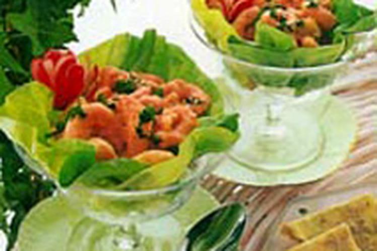Cocktail de crevettes, sauce au bleu