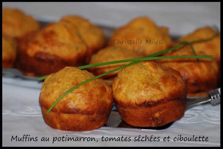Muffins au potimarron, tomates séchées, ciboulette
