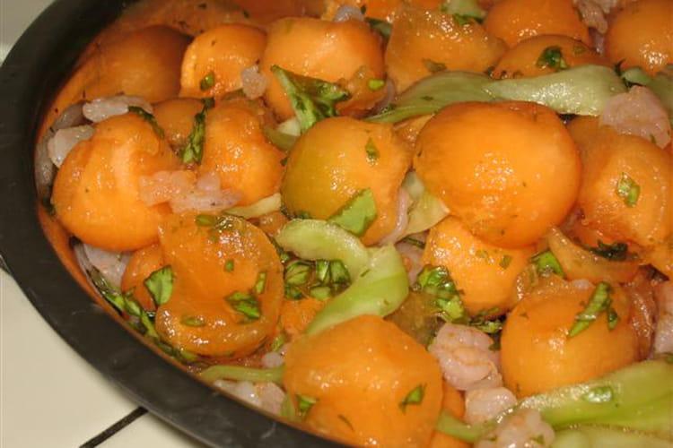 Salade de melon et crevettes flambées au Pastis