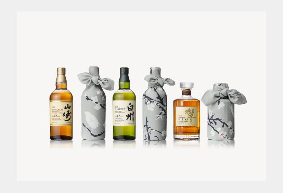 Whiskies primés de Suntory et leur furoshiki