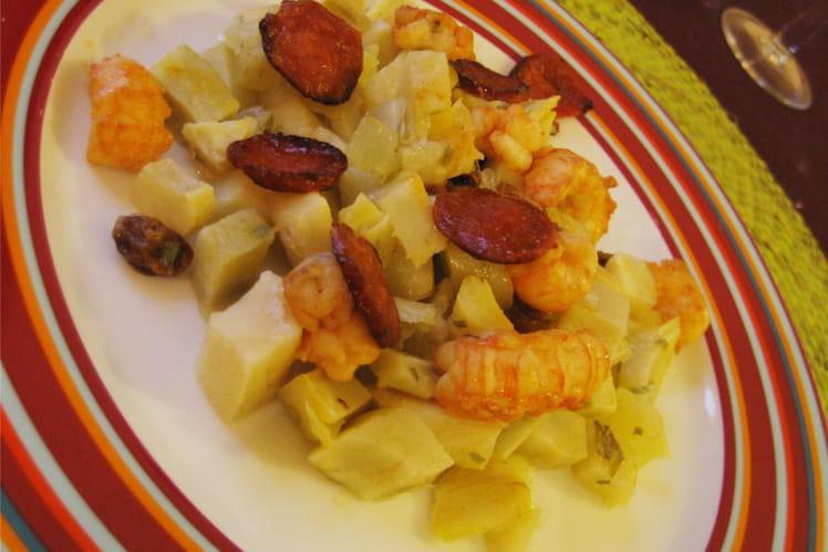 Langoustines aux artichauts et chorizo
