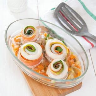 roulés poireau-carotte au merlan