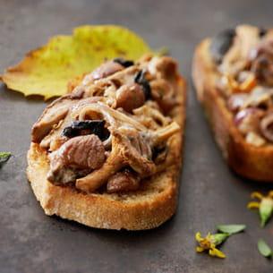 tartines aux marrons et champignons des bois