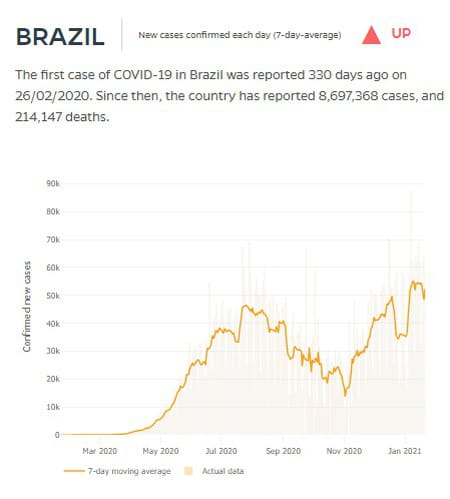 courbe cas covid brésil