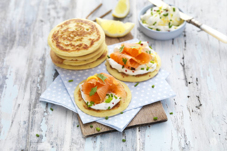 Blinis sans gluten au saumon fumé