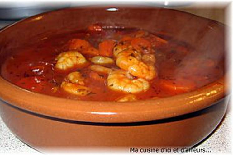 Cassolette de crevettes aux aromates