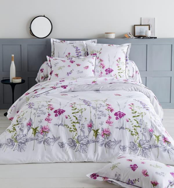 Parure-lit-Pretty--Tradilinge-coton-fleurs-violettes
