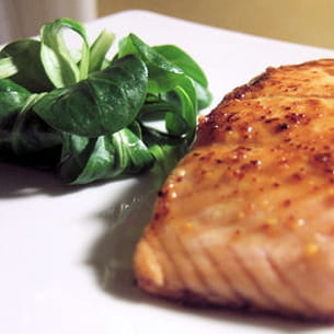 pavé de saumon au miel et au piment