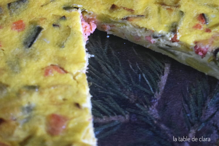 Quiche sans pâte poireaux saumon fumé