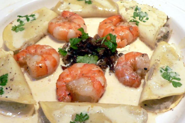 Crevettes et ses ravioles d'artichaut