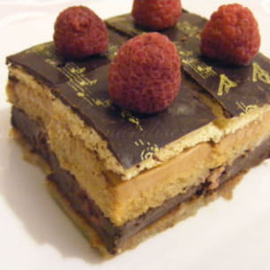 opéra revisité, choco-framboise et café-mascarpone