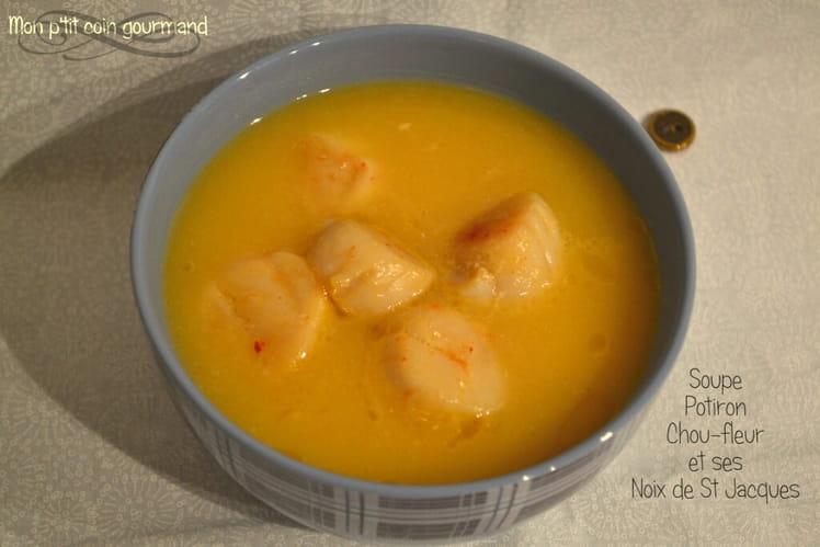 Soupe au potiron, chou fleur et noix de St Jacques