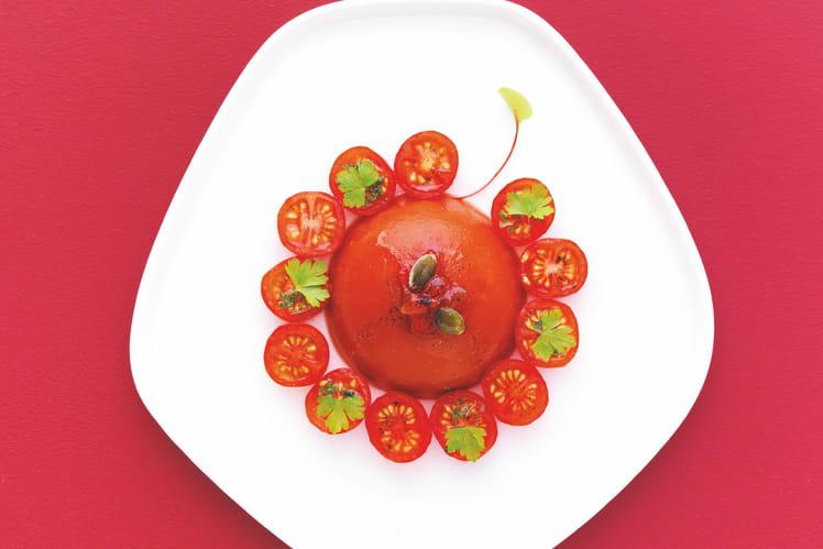 Dôme de gaspacho et caramel de tomates à la vanille