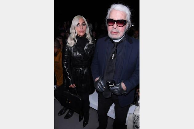 Lady Gaga et Karl Lagerfeld au défilé Celine