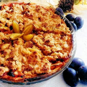 tarte quetsches, crumble, cannelle