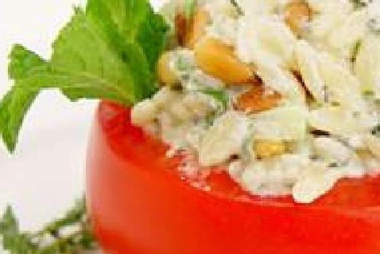 Tomates farcies au riz, raisins secs et parmesan