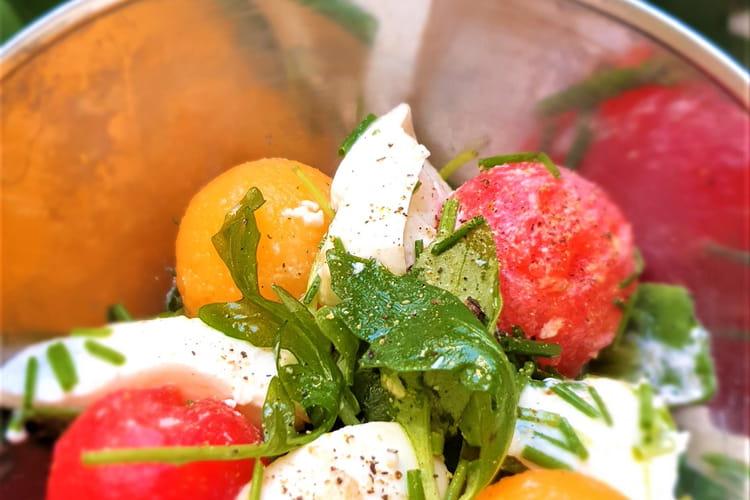 Salade tomate-mozza-pastèque aux couleurs d'Italie
