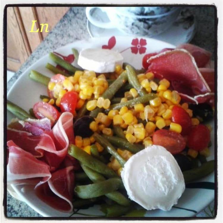 recette de haricots verts en salade avec jambon cru ma s tomates cerise olives noires et. Black Bedroom Furniture Sets. Home Design Ideas