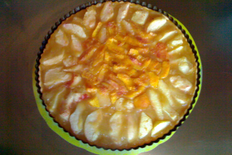 Tarte compote de pomme-vanille et nectarines