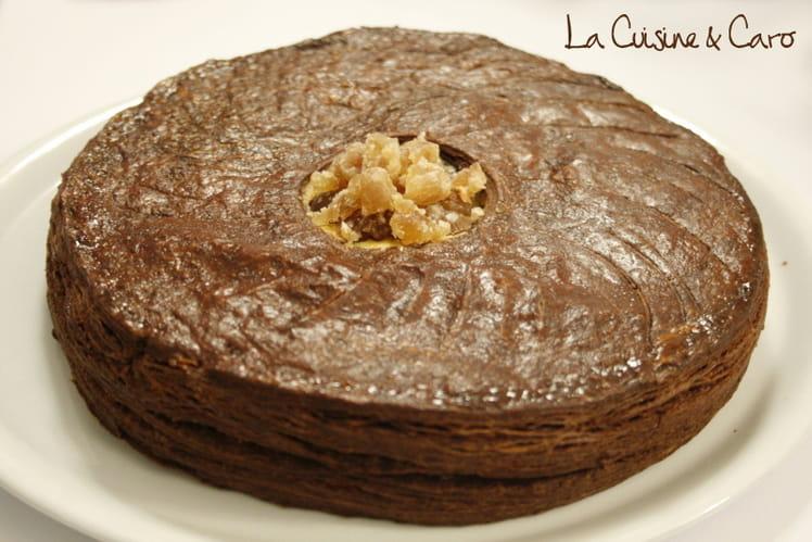 Galette feuilletée chocolat, amande marrons