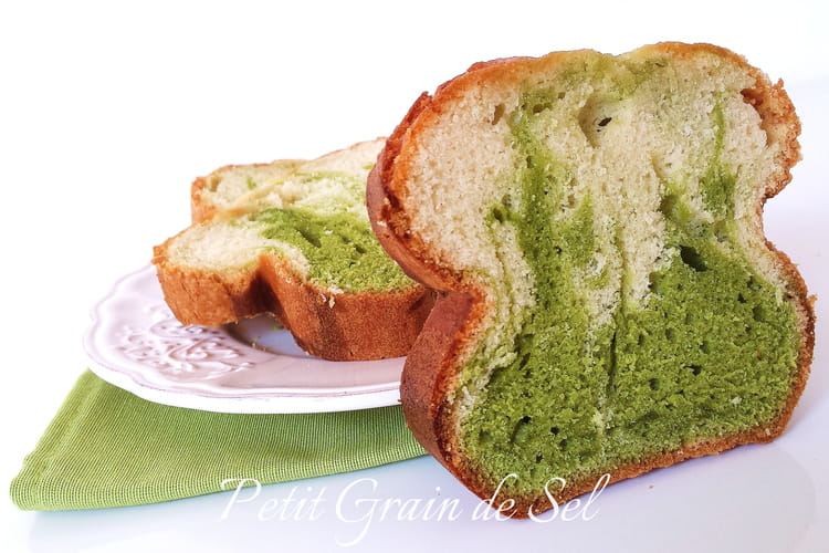 Cake marbré pistache et amande