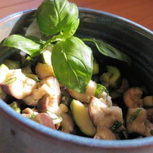 salade fraîche courgettes et aubergines