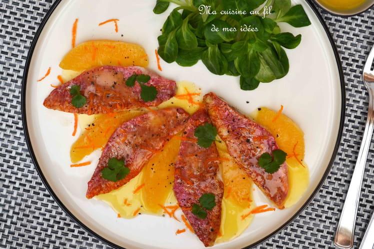 Filets de rouget de roche au beurre d'agrumes (orange et clémentine)