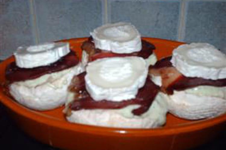 Champignons farcis au magret et fromage de chèvre