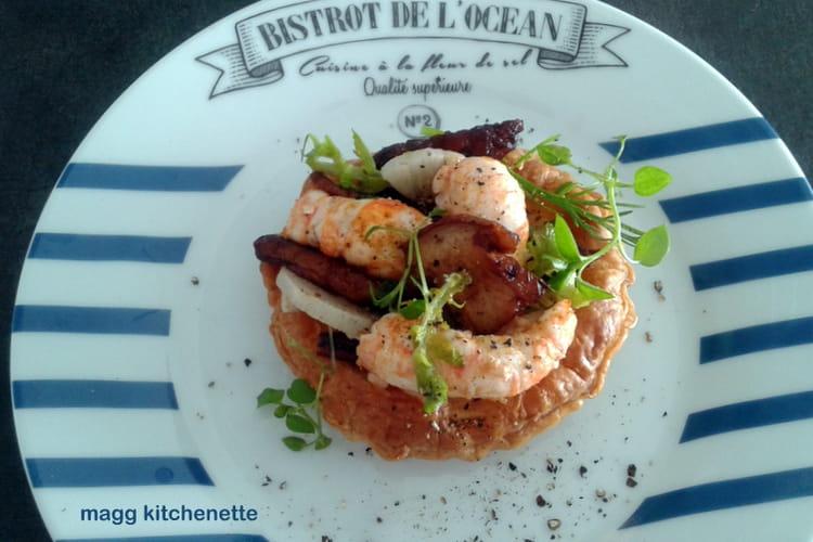 Tartelette feuilletée aux langoustines
