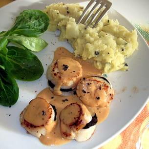 saint-jacques aux truffes, purée à l'huile d'olive