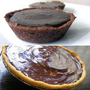 mini tartelettes 100% chocolat et tarte au chocolat minute